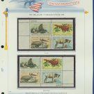 1972 USA MNH Sc# 1464 – 7 Wildlife Conservation Stamps on WA Pgs –Plt #'d Blks of 4– E2703