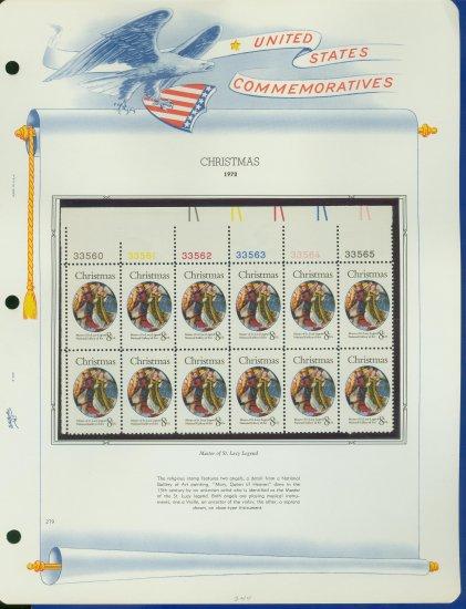 1972 USA MNH Sc# 1471 Plate #�d Block of 12 Stamps mounted on a WA Pg � Christmas � E2703