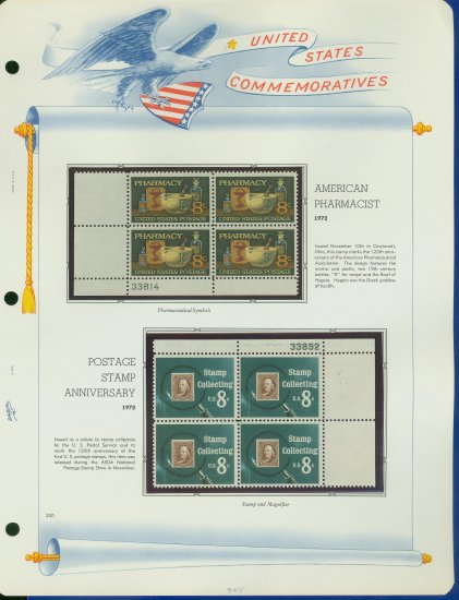 1972 USA MNH Sc# 1473, 4 � Plate #�d Blocks of 4 Stamps mounted on a White Ace Page � E2703