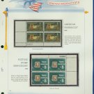 1972 USA MNH Sc# 1473, 4 – Plate #'d Blocks of 4 Stamps mounted on a White Ace Page – E2703