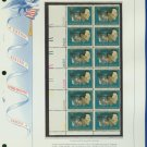 1973 USA MNH Sc# 1485 Plate #'d Block of 12 Stamps mounted on a WA Pg – Christmas – E2703
