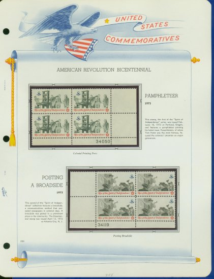 1973 USA MNH Sc# 1476 �9 Colonial Communications Stamps on WA Pgs �Plt #�d Blks of 4� E2703