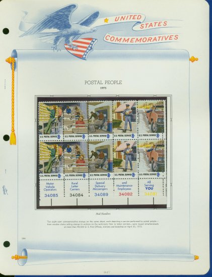 1973 USA MNH Sc# 1489 � 98 Postal Service Stamps on WA Pgs � Plt #�d Blk of 10 BOTTOM�E2703