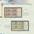 1973 USA MNH Sc# 1502, C86 – Plate #'d Blocks of 4 Stamps mounted on a White Ace Page – E2703