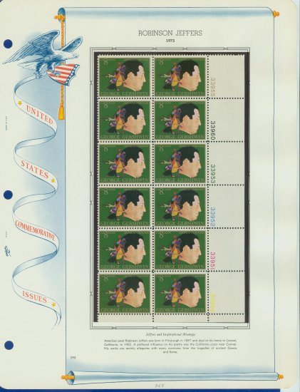 1973 USA MNH Sc# 1484 Plt #�d Blk of 12 Stamps mounted on a WA Pg � G Gershwin � E2703
