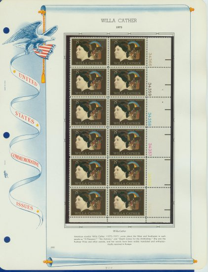 1973 USA MNH Sc# 1487 Plt #�d Blk of 12 Stamps mounted on a WA Pg � W Cather � E2703