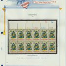 1973 USA MNH Sc# 1508 Plate #'d Block of 12 Stamps mounted on a WA Pg – Christmas – E2703