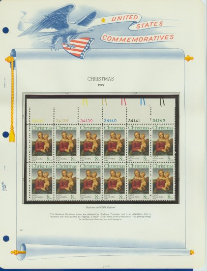 1973 USA MNH Sc# 1507 Plate #�d Block of 12 Stamps mounted on a WA Pg � Christmas � E2703