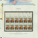 1973 USA MNH Sc# 1507 Plate #'d Block of 12 Stamps mounted on a WA Pg – Christmas – E2703