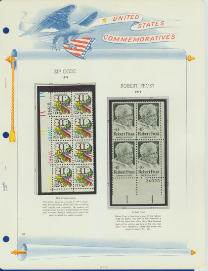 1973 USA MNH Sc# 1511, 1526 �Plt #�d Blks of 8 & 4 Stamps mounted on a WA Page � E2703