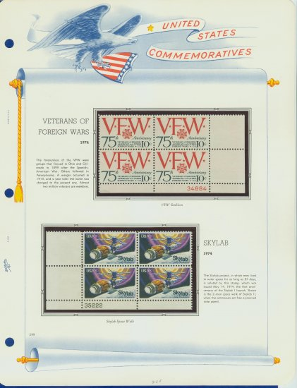 1974 USA MNH Sc# 1525, 29 � Plate #�d Blocks of 4 Stamps mounted on a White Ace Page � E2703