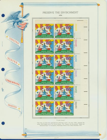 1974 USA MH Sc# 1527 Plt #�d Block of 12 Stamps mounted on a WA Pg � Cosmic Jumper �E2703