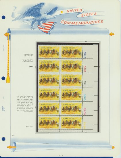1974 USA MNH Sc# 1528 Plt #�d Block of 12 Stamps mounted on a WA Pg � Kentucky Derby - E2703
