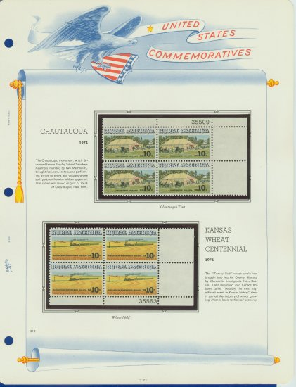 1974 USA MNH Sc# 1505, 6 � Plate #�d Blocks of 4 Stamps mounted on a White Ace Page � E2703
