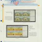 1974 USA MNH Sc# 1505, 6 – Plate #'d Blocks of 4 Stamps mounted on a White Ace Page – E2703