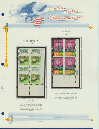 1974 USA MNH Sc# 1542, 7 � Plate #�d Blocks of 4 Stamps mounted on a White Ace Page � E2703