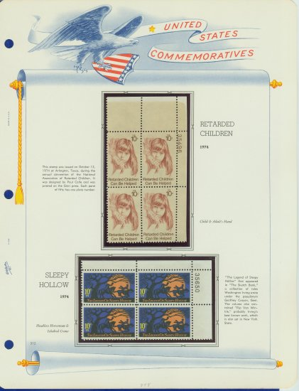 1974 USA MNH Sc# 1548, 9 � Plate #�d Blocks of 4 Stamps mounted on a White Ace Page � E2703