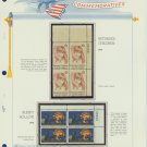 1974 USA MNH Sc# 1548, 9 – Plate #'d Blocks of 4 Stamps mounted on a White Ace Page – E2703