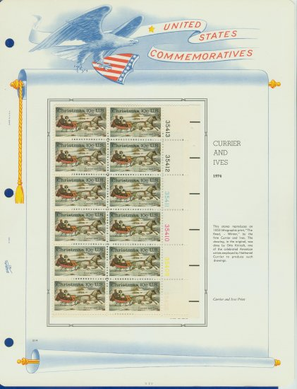 1974 USA MH Sc# 1551 Plate #�d Block of 12 Stamps mounted on a WA Pg � Christmas � E2703