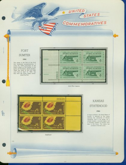 1961 USA MNH Scott# 1178, 83 Plate #�d Blocks of 4 Stamps mounted on a White Ace Page � E2703