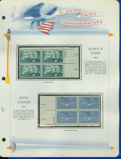 1961 USA MNH Scott# 1184, 5 Plate #�d Blocks of 4 Stamps mounted on a White Ace Page � E2703