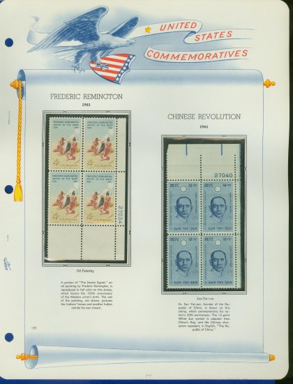 1961 USA MNH Scott# 1187, 8 Plate #�d Blocks of 4 Stamps mounted on a White Ace Page � E2703