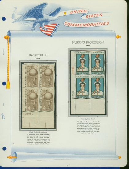 1961 USA MNH Scott# 1189, 90 Plate #�d Blocks of 4 Stamps mounted on a White Ace Page � E2703