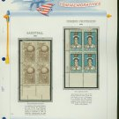 1961 USA MNH Scott# 1189, 90 Plate #'d Blocks of 4 Stamps mounted on a White Ace Page – E2703