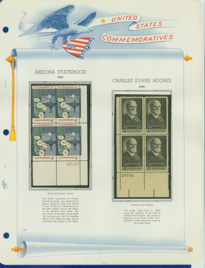 1962 USA MNH Scott# 1192, 5 Plate #�d Blocks of 4 Stamps mounted on a White Ace Page � E2703