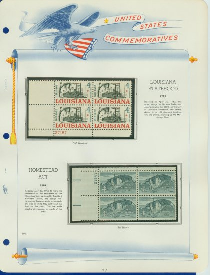 1962 USA MNH Scott# 1197, 98 Plate #�d Blocks of 4 Stamps mounted on a White Ace Page � E2703