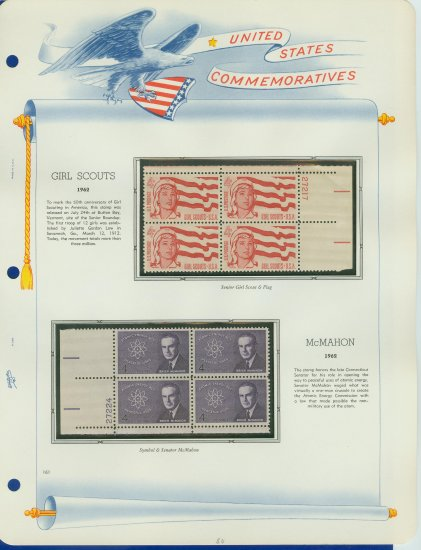1962 USA MNH Scott# 1199, 1200 Plate #�d Blocks of 4 Stamps mounted on a White Ace Page � E2703