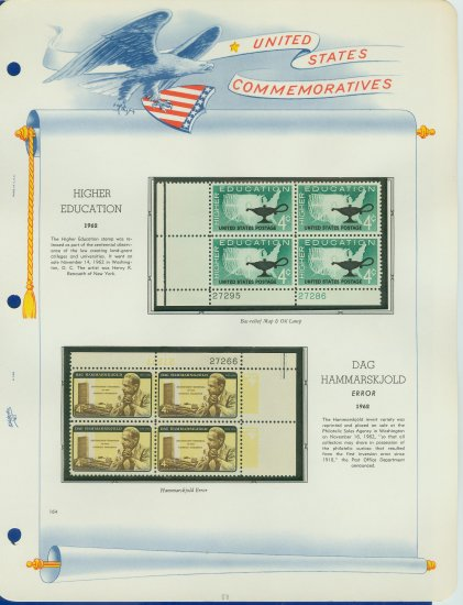 1962 USA MNH Scott# 1204, 1206 Plate #�d Blocks of 4 Stamps mounted on a White Ace Page � E2703