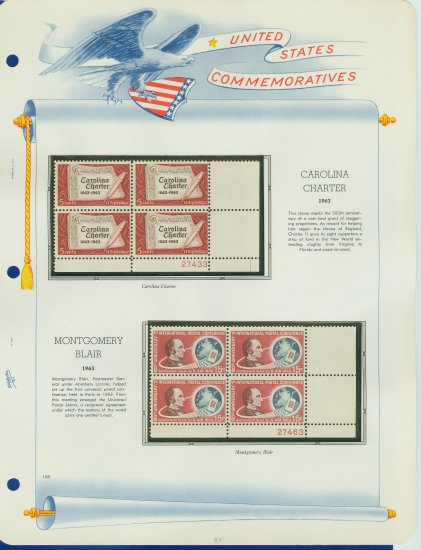 1963 USA MNH Scott# 1230, C66 Plate #�d Blocks of 4 Stamps mounted on a White Ace Page � E2703