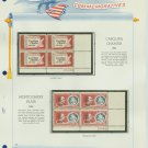 1963 USA MNH Scott# 1230, C66 Plate #'d Blocks of 4 Stamps mounted on a White Ace Page – E2703