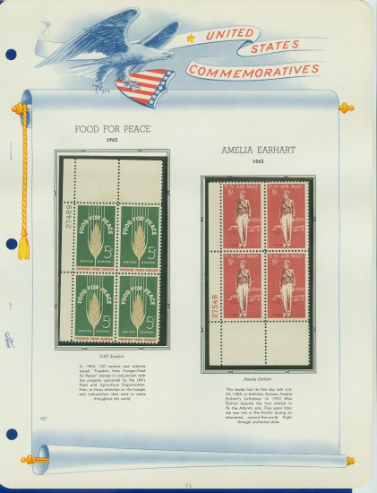 1963 USA MNH Scott# 1231, C68 Plate #�d Blocks of 4 Stamps mounted on a White Ace Page � E2703