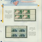1963 USA MNH Scott# 1180, 1232 Plate #'d Blocks of 4 Stamps mounted on a White Ace Page – E2703