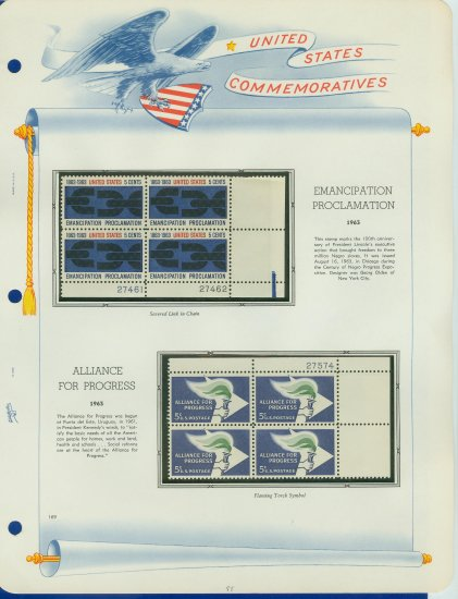 1963 USA MNH Scott# 1233, 1234 Plate #�d Blocks of 4 Stamps mounted on a White Ace Page � E2703