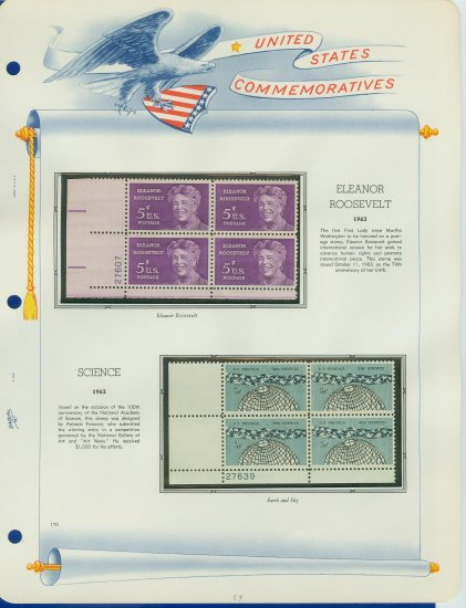1963 USA MNH Scott# 1236, 1237 Plate #�d Blocks of 4 Stamps mounted on a White Ace Page � E2703