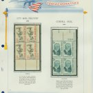 1963 USA MNH Scott# 1235, 1238 Plate #'d Blocks of 4 Stamps mounted on a White Ace Page – E2703