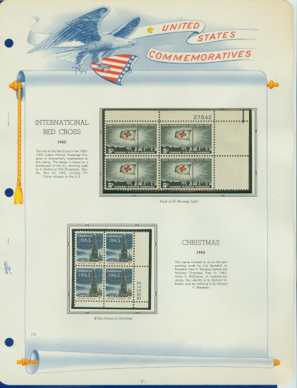 1963 USA MNH Scott# 1239, 1240 Plate #�d Blocks of 4 Stamps mounted on a White Ace Page � E2703