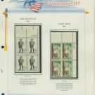 1964 USA MNH Scott# 1242, 1245 Plate #'d Blocks of 4 Stamps mounted on a White Ace Page – E2703