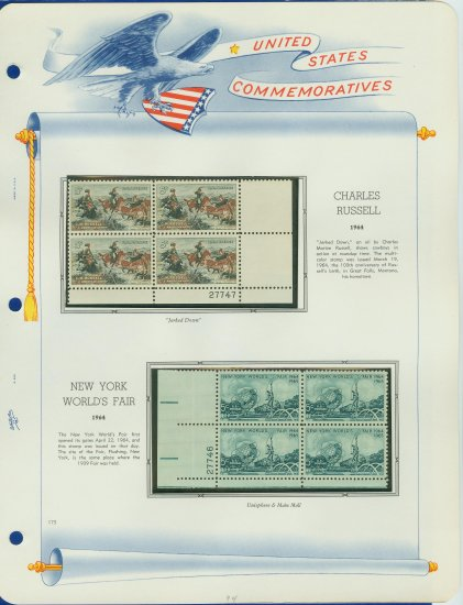 1964 USA MNH Scott# 1243, 1244 Plate #�d Blocks of 4 Stamps mounted on a White Ace Page � E2703