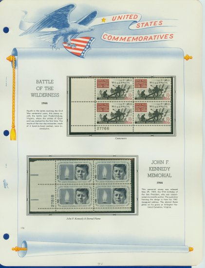 1964 USA MNH Scott# 1181, 1246 Plate #�d Blocks of 4 Stamps mounted on a White Ace Page � E2703