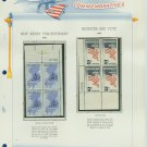 1964 USA MNH Scott# 1247, 1249 Plate #'d Blocks of 4 Stamps mounted on a White Ace Page – E2703