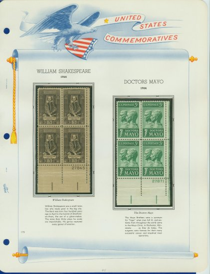 1964 USA MNH Scott# 1250, 1251 Plate #�d Blocks of 4 Stamps mounted on a White Ace Page � E2703