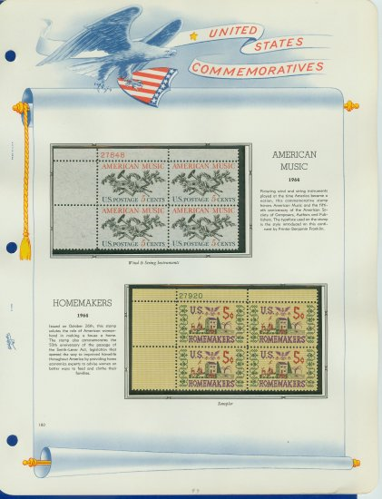1964 USA MNH Scott# 1252, 1253 Plate #�d Blocks of 4 Stamps mounted on a White Ace Page � E2703