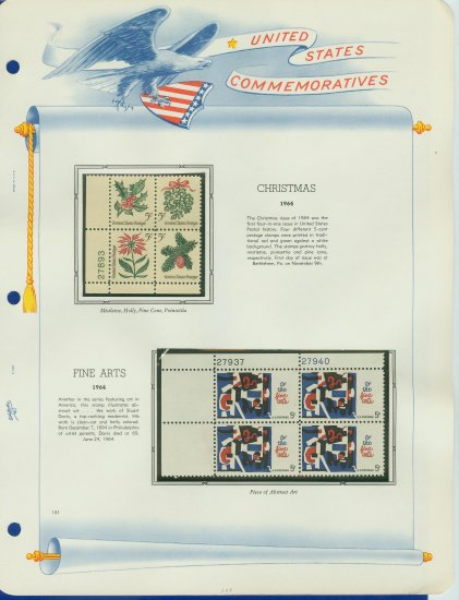 1964 USA MNH Scott# 1254 - 59 Plate #�d Blocks of 4 Stamps mounted on a White Ace Page � E2703