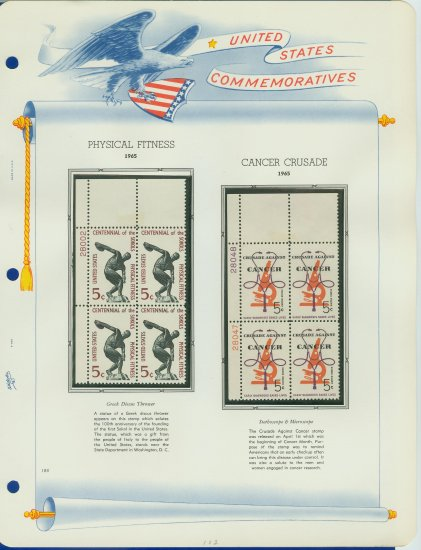 1965 USA MNH Scott# 1262, 1263 Plate #�d Blocks of 4 Stamps mounted on a White Ace Page � E2703