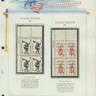 1965 USA MNH Scott# 1262, 1263 Plate #'d Blocks of 4 Stamps mounted on a White Ace Page – E2703