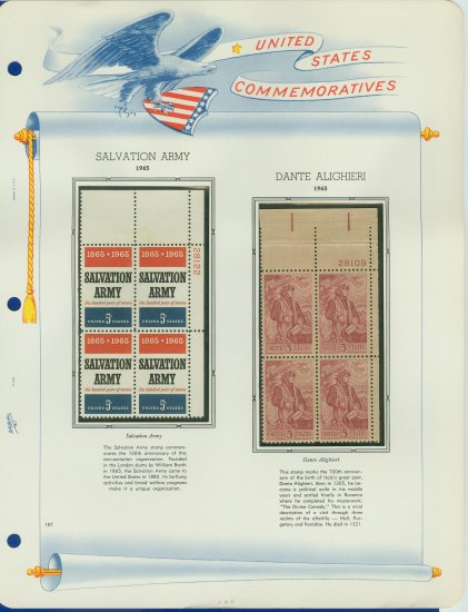 1965 USA MNH Scott# 1267, 1268 Plate #�d Blocks of 4 Stamps mounted on a White Ace Page � E2703